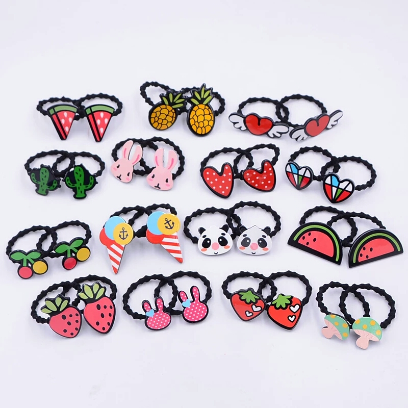 AKWZMLY 6Pcs Girls Black Headband Flower Hair Elastic Bands Scrunchy Ponytail Holder Hair Accessories Fruits Pattern Ropes Ties 300pcs pack solid headband rubber ropes for baby girls ponytail holder elastic kids hair bands ties children hair accessories