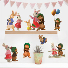 3D Creative Peter Rabbit DIY Living Room Bedside Bedroom Murals Children  Room Decoration Suitcase Wall Stickers Part 84