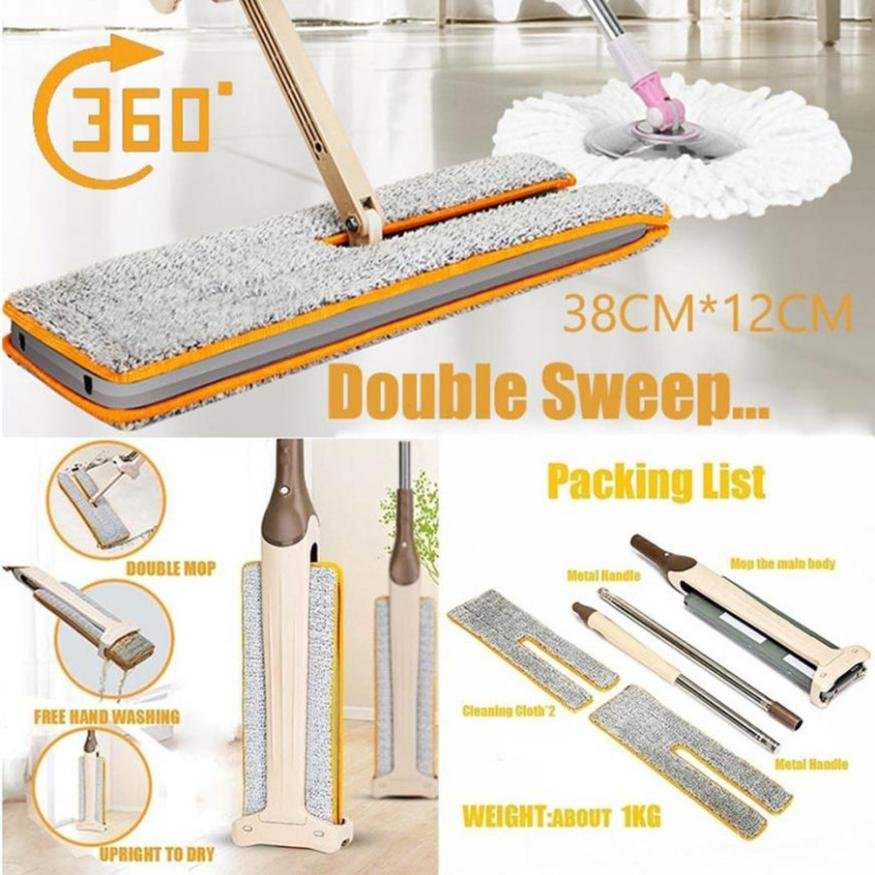 new 2018 Double Sided Non Hand Washing ABS Flat Mop Wooden Floor Superfine Fiber Dust Mop Home Cleaning Tools Decor