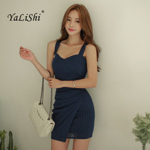 купить YaLiShi 2017 New Summer Blue Striped V-neck Sleeveless Dress Sexy Party Bandage Spaghetti Strap Mini Dresses Women Vestido Mujer дешево