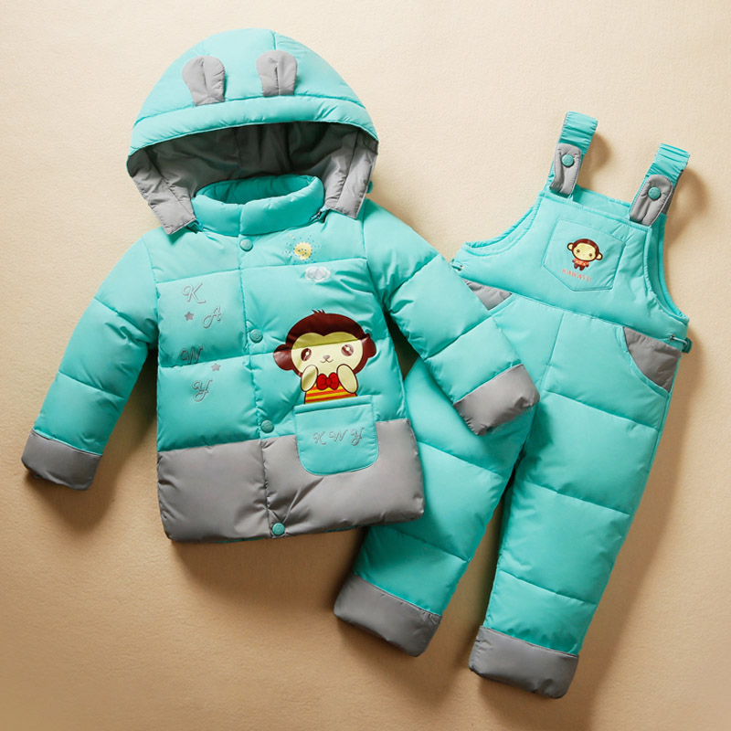 ФОТО 2016 New baby clothing set  thicken down jacket kid romper down jacket clothing sets kids down & parkas Suitable 1-4years
