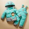 2016 Nueva ropa del bebé mameluco del cabrito espesar down jacket down jacket ropa establece kids abajo y abrigos esquimales Adecuados 1-4years