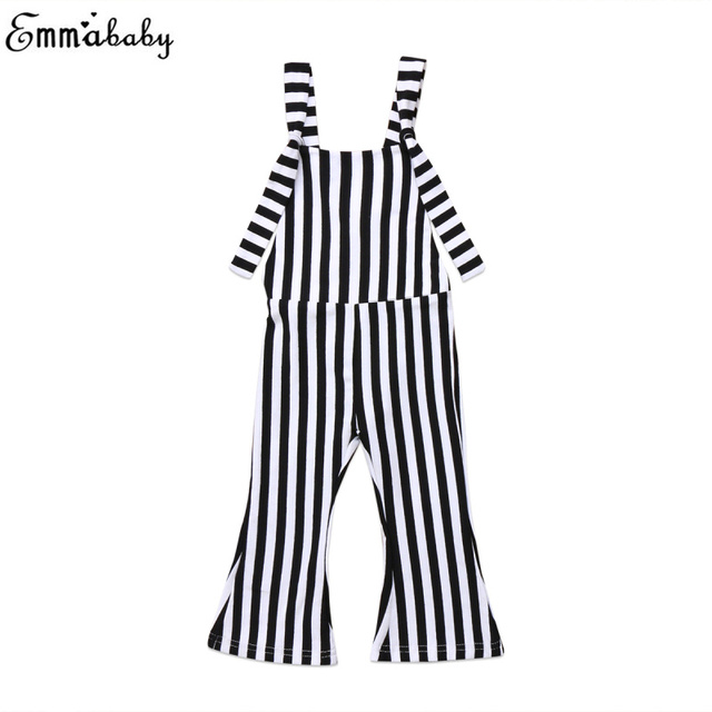 0a1b68c894 Toddler Kids Baby Girl Stripe Brace Pants Overalls Long Loose Flare Pants  Backless Overall Jumper Girls Outfit