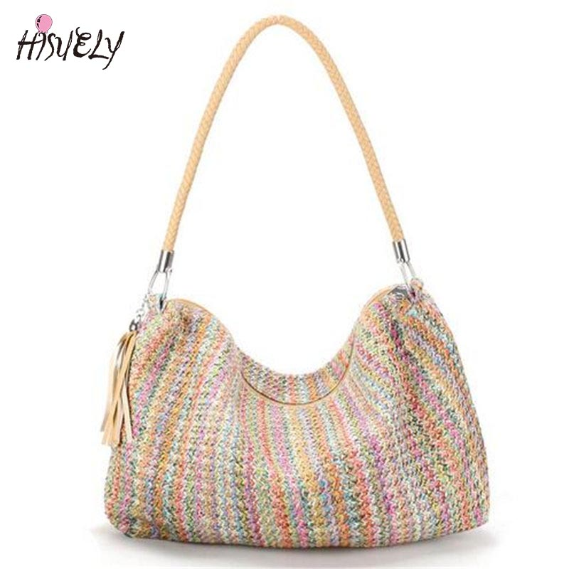 2018 Bohemian Style Handbag Tassel Braid Strap Weave Women Beach Shoulder Bag Large Summer Straw Casual Tote Shopping Bag Bolsa large beach bags women hasp tote bags for women straw handbag bohemian summer holiday bag ladies shoulder casual straw bag w295