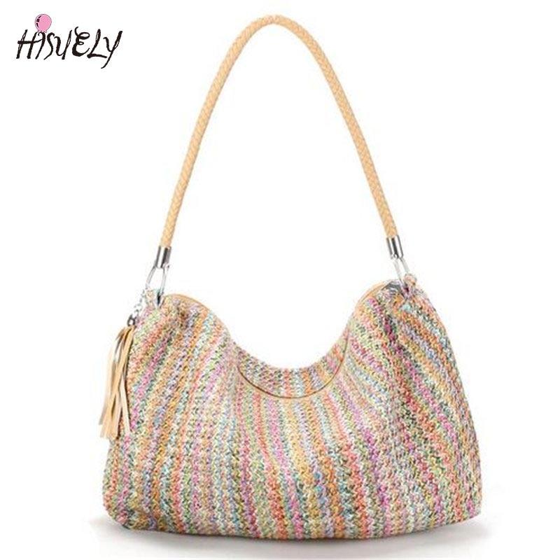 2018 Bohemian Style Handbag Tassel Braid Strap Weave Women Beach Shoulder Bag Large Summer Straw Casual Tote Shopping Bag Bolsa