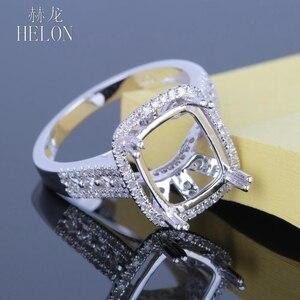 Image 5 - Helon solid 14k ouro branco 11x9mm almofada/esmeralda/radiante real natural diamantes noivado casamento jóias semi montar anel