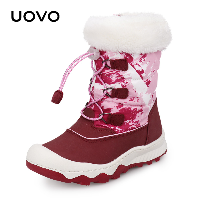 Kids Snow Boots Water Repellent Winter Boots 2019 UOVO New Arrival Children Warm Boots Boys And Girls With Plush Lining #29-38