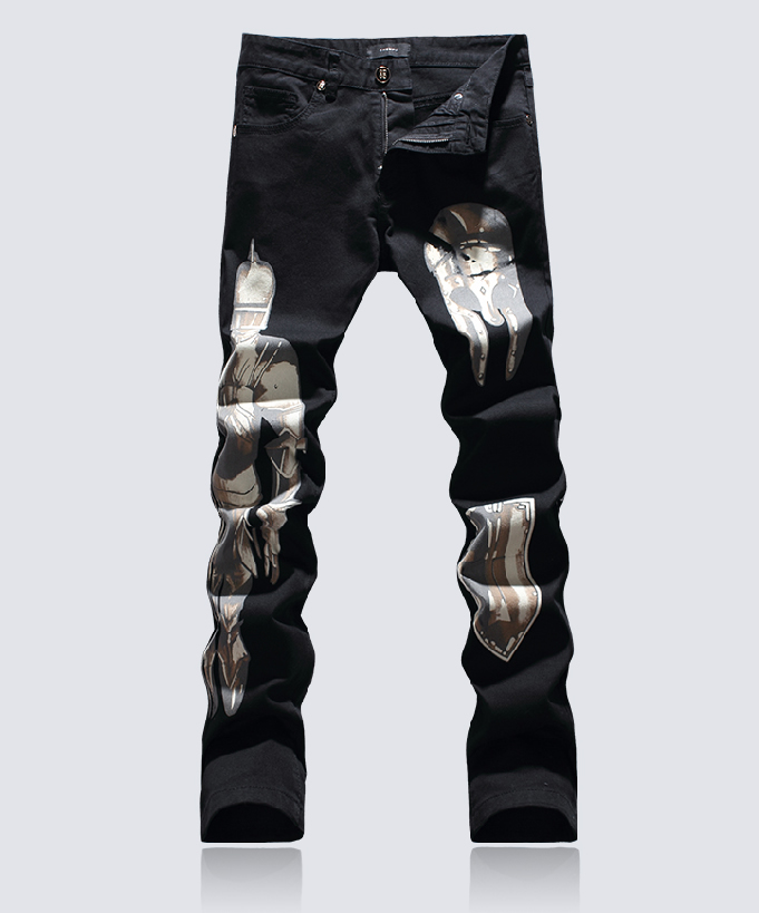 Hot sale  cartoon Painted jeans classic black slim trousers hot sale cayler