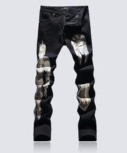 Hot sale  cartoon Painted jeans classic black slim trousers