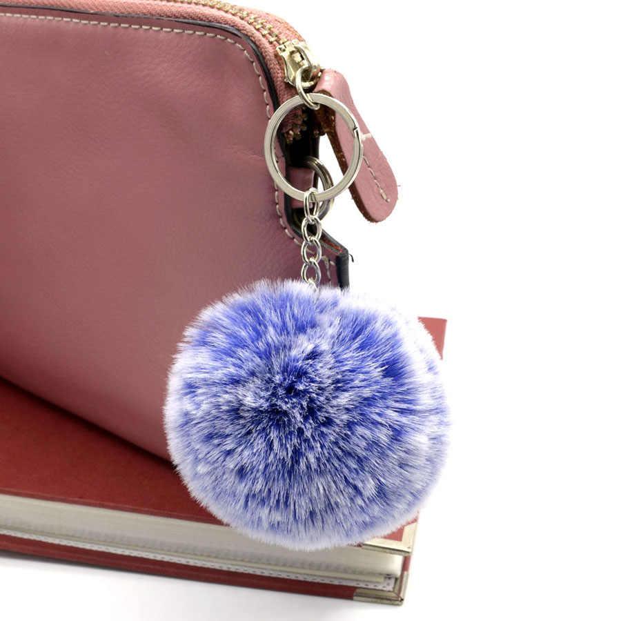 فرو الأرنب الصناعي سلاسل المفاتيح كوفيت فروست الأبيض رقيق المفاتيح 8 سنتيمتر Pompom سلسلة مفاتيح على شكل كرة للفتيات النساء