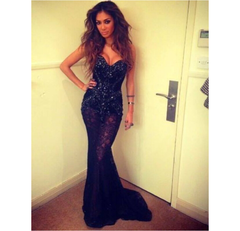 2015 See through Sexy Strapless Beaded Lace Black Mermaid Prom ...