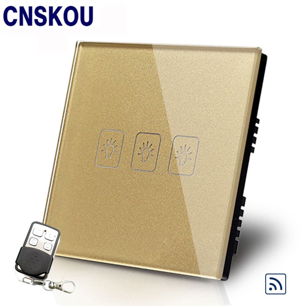 Cnskou Manufacturer UK Standard 3Gang 1Way Touch Switch Golden Glass Panel+LED Remote Switch&Controller Smart Home Automation smart home luxury crystal glass 2 gang 1 way remote control wall light touch switch uk standard with remote controller