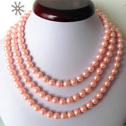 Women Gift word Love Free shipping Fashion Jewellery 8mm Pink ocean shell pearls necklace 50' 5.27 Pakistan