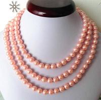 Women Gift word Love Free shipping Fashion Jewellery 8mm Pink ocean shell pearls necklace 50'' 5.27