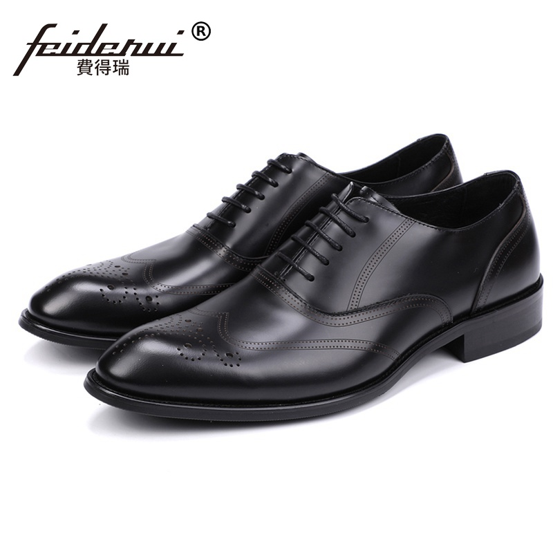Luxury Man Formal Dress Carved Shoes Genuine Leather Handmade Wedding Party Oxfords Round Toe Breathable Men's Footwear JS139 luxury formal dress man carved brogue shoes genuine leather round toe men s oxfords handmade wedding party footwear js88