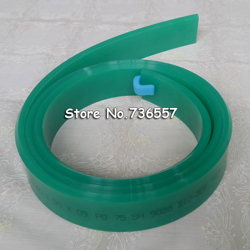 Pointed Screen Printing Squeegee Rubber Blade, 75A Durometer (50mm*9mm, 1 meter) dek 193199 193202 193205 300 400 520mm clean rubber squeegee