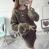 2017 Women Pullover Female Sweater Fashion Autumn Winter Warm Casual Loose Knitted Tops