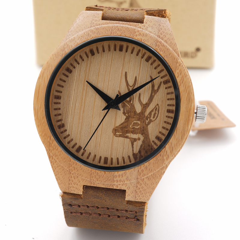 BOBO BIRD F29 Deer Styles Bamboo Wood Watches Women's Luxury Brand Clock Leather Band Wooden Bamboo Wristwatches In Wood Box OEM bobo bird wh11 brand design bamboo wooden watches for women men wood dial quartz watch leather grain band in wood box gift oem