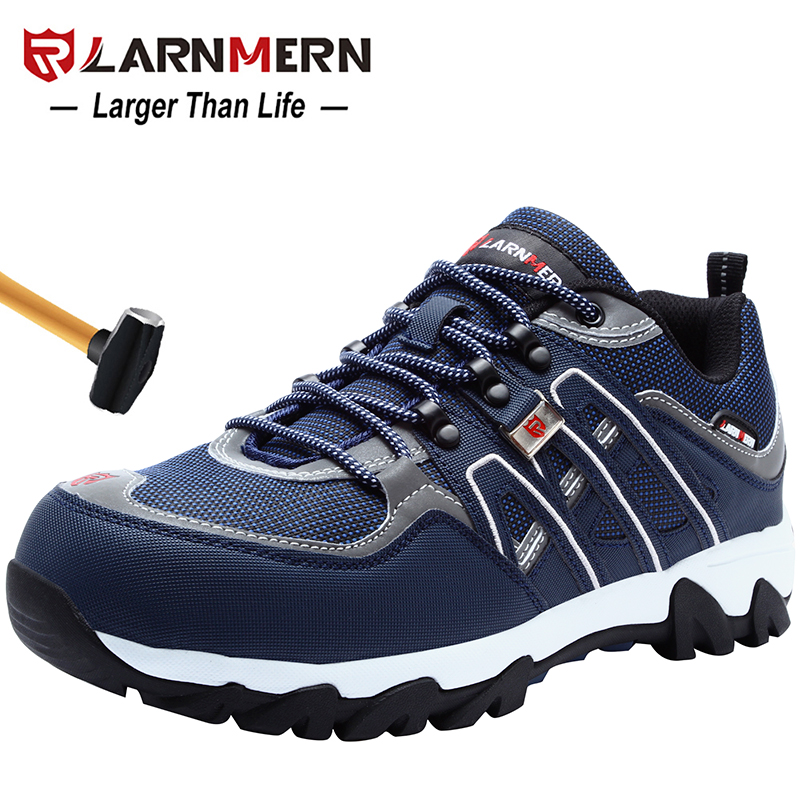 LARNMERN Men Steel Toe Safety Shoes SRC Non slip Working Security Protection Footwear Breathable Durable Hiking
