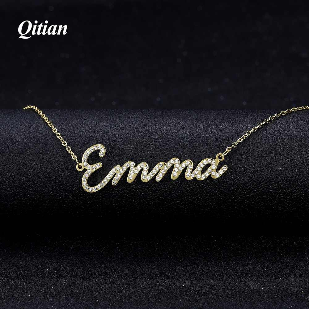 Any Personalized Name Necklace   Iced Out Zirconia Necklaces Gold Color Stainless Steel Custom Name Necklace Fashion Jewlery