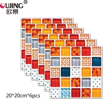 6pcs lot 3D Europe Style Mosaic Simulation Ruby Tiles Floor Wall Sticker  Kitchen Stairs Tile 4db203e995e3