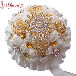 Image 1 - WifeLai A 1Piece Gold Crystal Ivory Cream Rose Brooch Wedding Bouquet Mariage BridalBouquet Pearl Flowers buque de noiva PL002