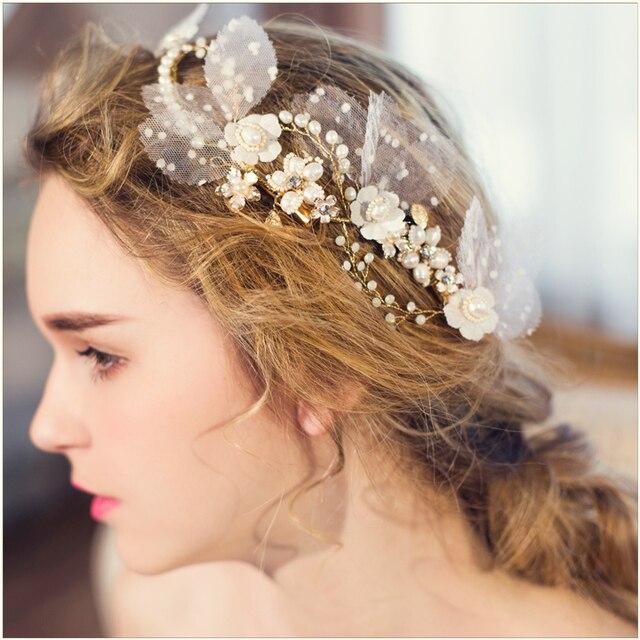 d05795d4c84077 Jonnafe Hanmade Blume Braut Perle Haar Reben Zubehör Gold Hochzeit Schmuck  Stirnband Frauen Kopfstück