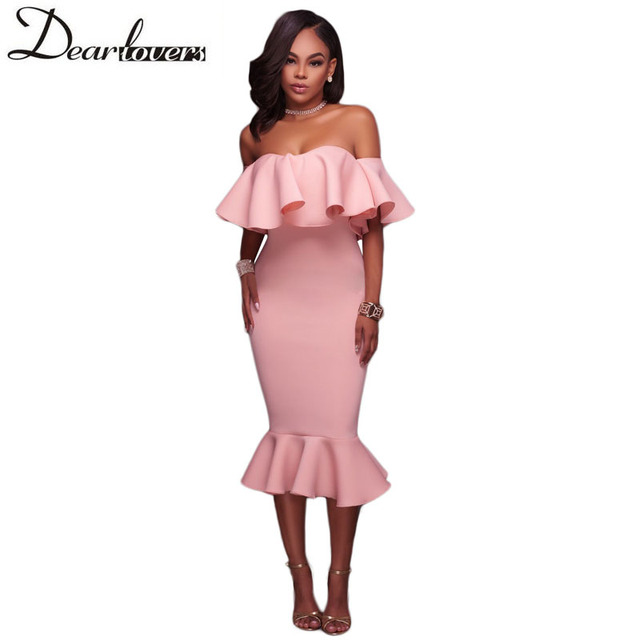 437963a45b6 Dear lover Off Shoulder Ruffle Midi Dress 2017 New Sexy Bodycon Mermaid  Midi Party Dress LC61486 White Black Pink Blue Red