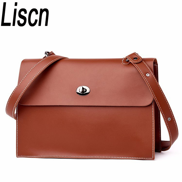 korean wax pu leather briefcase bag women simple chic big evenlope