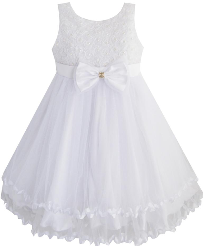 Sunny Fashion Girls Dress White Pearl Tulle Layers Wedding Pageant Flower Girl Kids 2017 Summer Princess Party Dresses Size 2-10 цена 2016