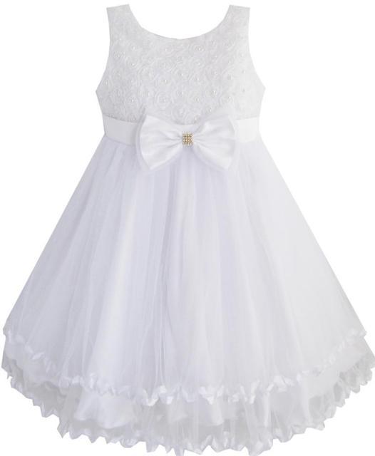 Sunny Fashion Vestido Menina Branco Pérola Tule Camadas Casamento Pageant Flor Menina