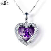 100 Genuine 925 Sterling Silver Natural Purple Amethyst Heart Pendant Necklace With 18inch S925 Silver Chain