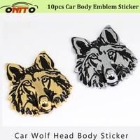 10pcs Car body Emblem Word Sticker 3D Trunk Emblem Stickers Logo Decoration Metal Wolf head totem