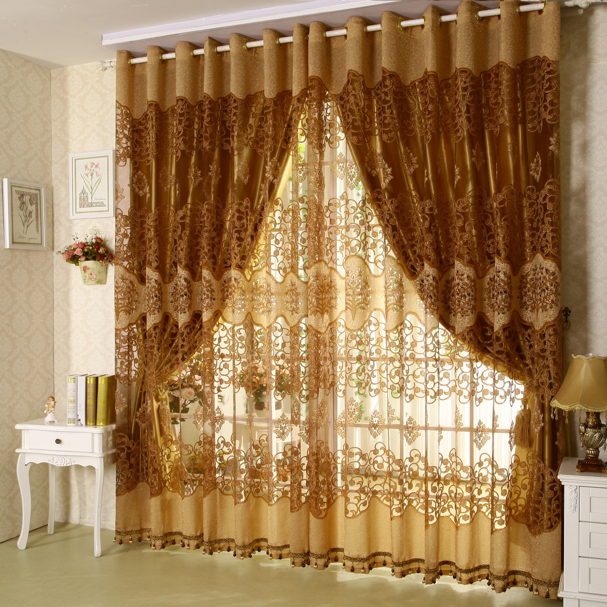 Curtains for bedroom windows with designs - Quality Flower Fashion Tree Design Window Screening With Blackout Curtain Living Room Curtain China