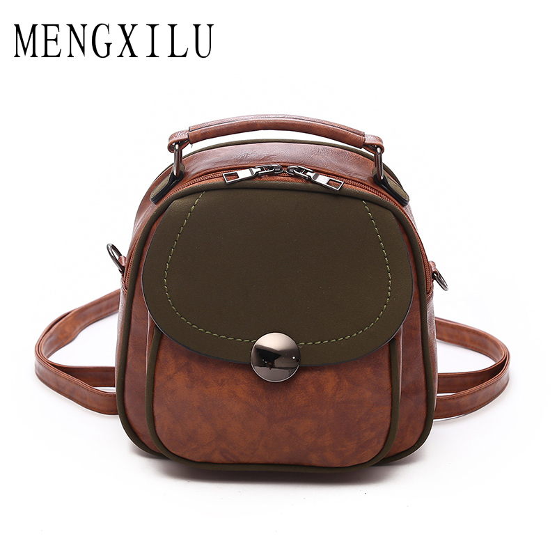 MENGXILU Brand Vintage Pu Leather Backpack Women Bag Hot Sale Backpacks For Teenage Girls Preppy Style School Bags Sac A Dos New 3pcs set hot women backpacks female school bags for teenage girls black pu leather backpack shoulder bag purse mochila sac a dos