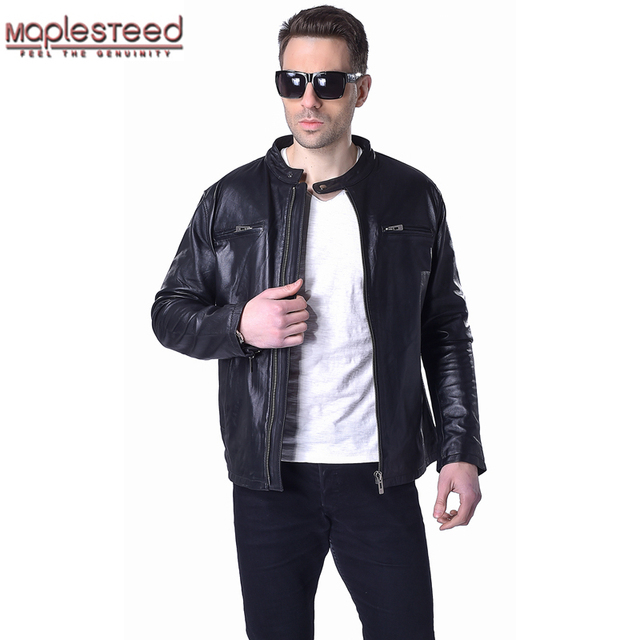 2dea2a2ca US $152.99 32% OFF|Factory Genuine Sheepskin Jackets Men Leather Jacket  Soft Thin Black Bomber Men's Leather Jacket Mens Leather Coat Autumn  ZH047-in ...