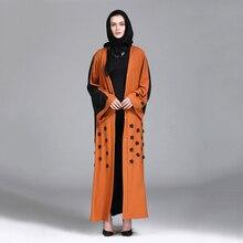 Casual Muslim Abaya Long Robes Ramadan Middle East Islamic Prayer Clothing Appliques Cardigan Maxi Dress Tunic Kimono Sashes