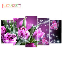 5pc Diamond Painting Colorful Butterfly Purple Tulip 5D DIY Embroidery Full Round Drill mosaic Multi-picture