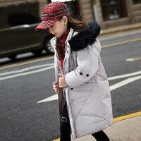 2017 Down Jcaket For Girls White Gray Big Fur Collar Coat Warm Windbreaker Fashion Design Kid
