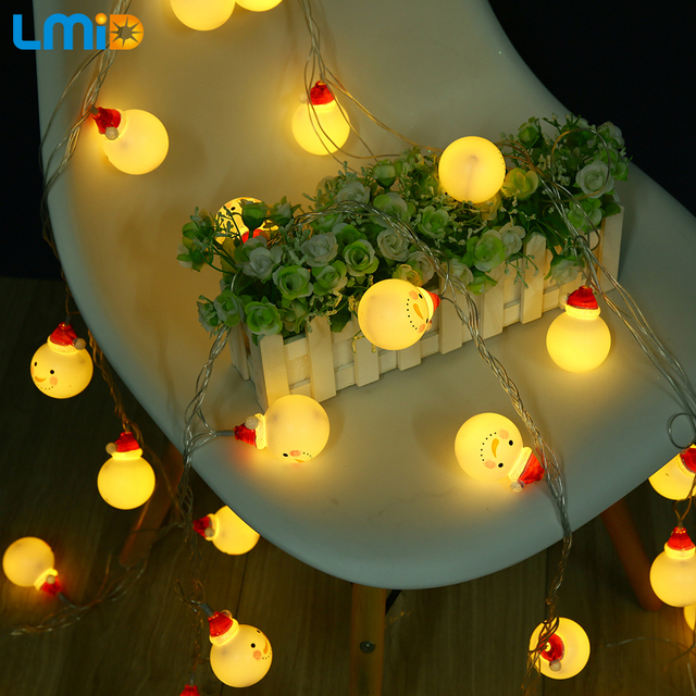 LMID 5M 30LEDs Snowman Warm White LED String Light Holiday Light Outdoor  Waterproof Party Christmas Decoration