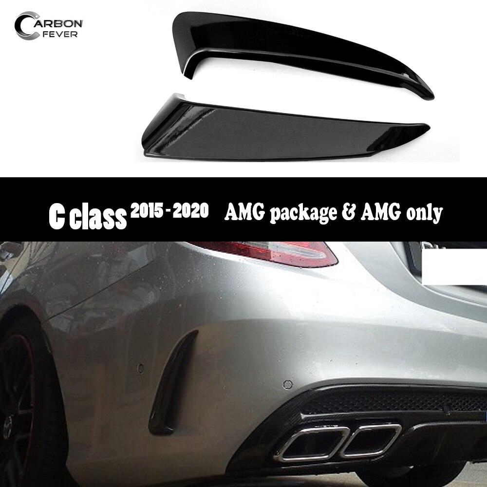 2 pièces PP garniture de couverture de conduit d'air de Canard de lèvre avant de pare-chocs arrière pour Mercedes W205 Coupe berline Sport modèle 2015 +