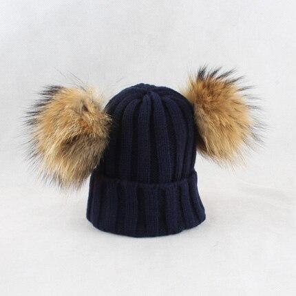 Dropwow Children 4 Pieces Natural Fur Pom Pom Beanie Hats Girls ... 948da37399bd