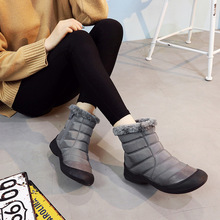 Unique stylish design of comfortable warm womens snow boots solid color flat bottom side zipper round head winter shoes