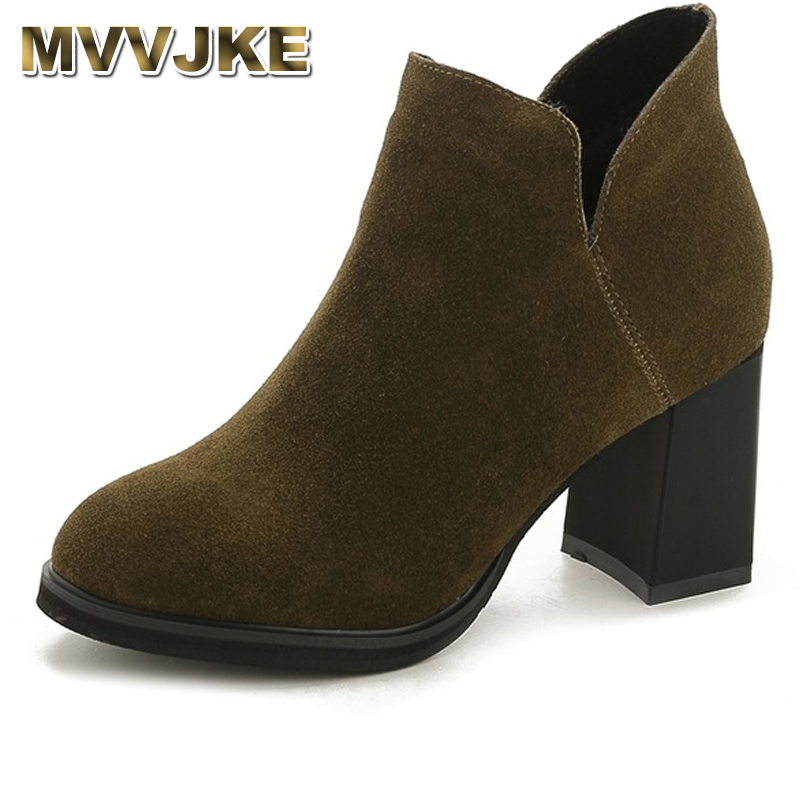 MVVJKE Genuine Leather Shoes Women Ankle Boots Autumn Thick High Heel Mar Boots Zip Winter Handmade Shoes Boot SuedeMVVJKE Genuine Leather Shoes Women Ankle Boots Autumn Thick High Heel Mar Boots Zip Winter Handmade Shoes Boot Suede