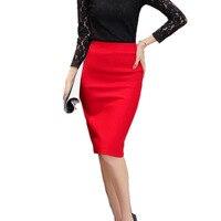 2017 Summer Autumn Women Skirts Plus Size High Waist Work Slim Feminine Pencil Skirt Open Fork