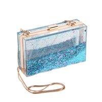 Retangular transparente Saco Do Partido Mulher Double-Sided Acrílico Liquid Hand Bag Mini Bolsa Limpar Glitter Estrela Senhora Saco Da Noite