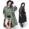 2016 Spring New Fashion Army Green Women and Black Trench Coat with Rivet and Patch Designs trenchcoat femme 1558