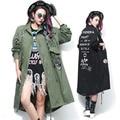 2016 nova primavera exército moda verde mulheres e casaco preto trincheira com rebite e projetos de Patch trenchcoat femme 1558