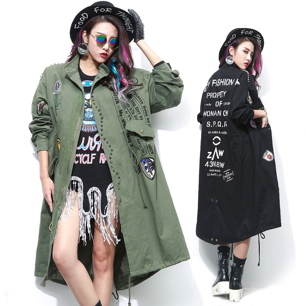 TREND-Setter 2017 Spring Fashion Army Green Women Black Long Trench Coat with Rivet and Patch Designs Loose Trenchcoat femme army green trench coat with drawstring waist