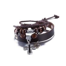 Wholesale Bronze 2 Cross Cowhide Women Bracelets Charm Fashion Bracelet Pendants Leather Braided Snake Chain Bracelet